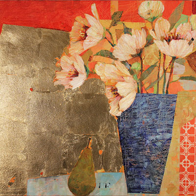 Sally Anne Fitter, The Gold Table, Original acrylic painting on canvas
