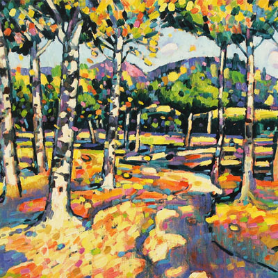 Terence Clarke, Falling Leaves, Autumn, Original oil painting on canvas