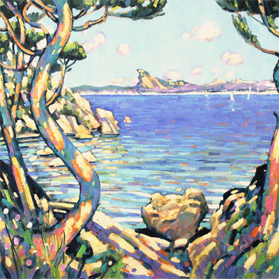 Terence Clarke, Golden Afternoon, Cote D'Azur, Original oil painting on canvas