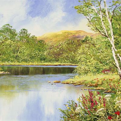 Terry Evans, Waterside Walk, Original oil painting on canvas